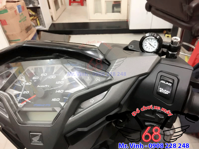 Hình ảnh: Đồng hồ mi ni gắn chân kính chiếu hậu xe vario chống nước giá rẻ tại TPHCM