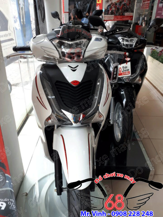 Hình ảnh: Mặt nạ mẫu SH ý độ cho SH 2017 màu trắng đen giá rẻ chỉ có tại shop 68 TPHCM