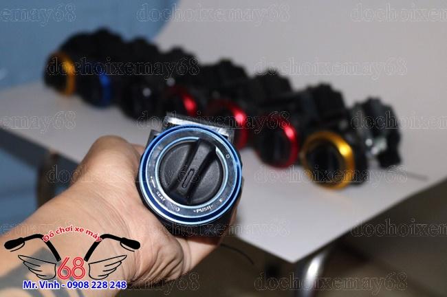 Hình ảnh: Khóa smartkey ổ tròn độ cho xe Exciter và Sh ý màu xanh dương